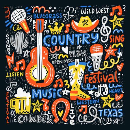 Country muziek illustratie ingesteld voor ansichtkaarten of festivalbanners. Vector handgetekende concept.