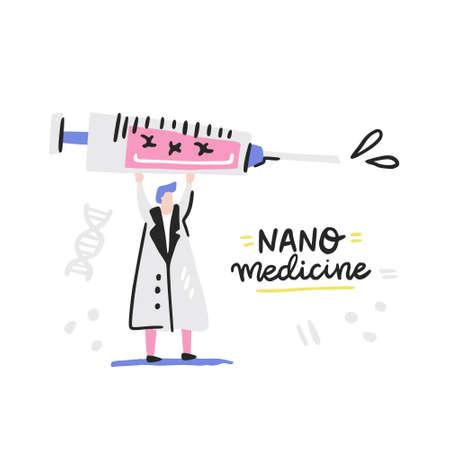Doctor holding syringe with DNA. Nano medicine symbols made in vector. Illustration