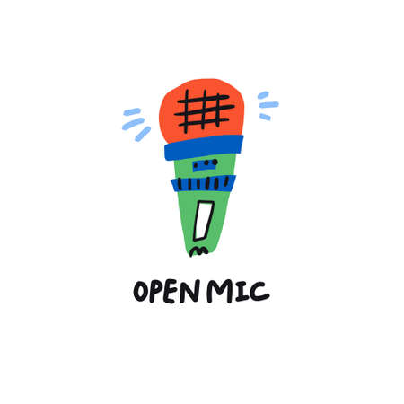 Open mic concept - illustration for music night banner or flyer.