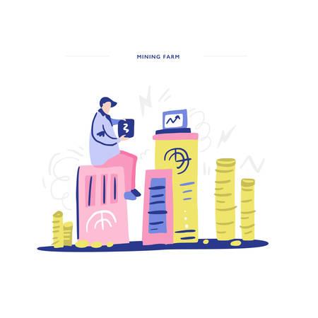 Man and his mining farm - laptops, money, cryptocurrency illustration. Ilustracja