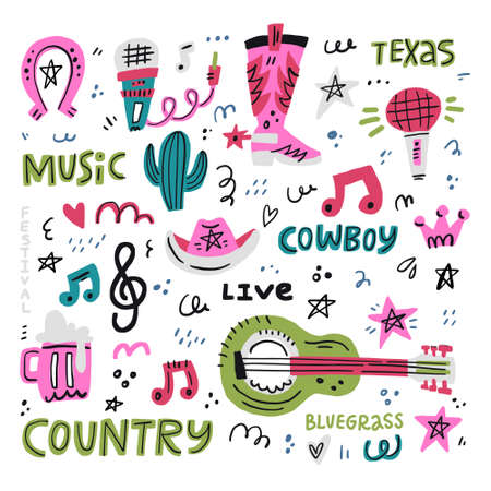 Set of symbols and lettering on country music theme. Handdrawn illustrations for your design.