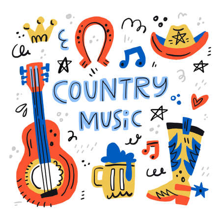 Country music handdrawn illustrations for postcards - vector concept. Stock Vector - 101657906