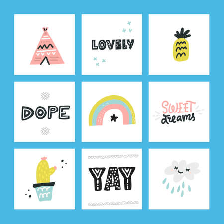 Handdrawn set of vector design elements for postcards, invitations, fashion industry. Kids collection.