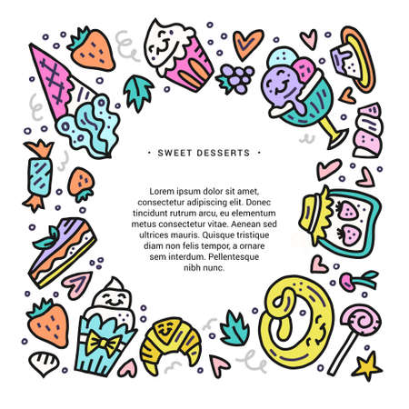 Set of colorful sweet desserts, cookies and other pastry. Doodle vector design for cards and invitations. Çizim