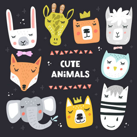 Cartoon animal heads bundle. Modern concept of flat design for kids cards, banners and invitations. Hand drawn vector illustration. Illustration