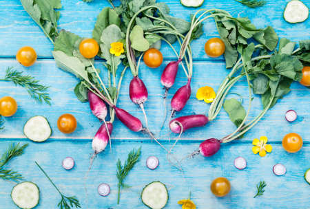 Artistic vacro photo of a bunch of farm grown radish surrounded by cucumber and tomatos. Organic natural food.