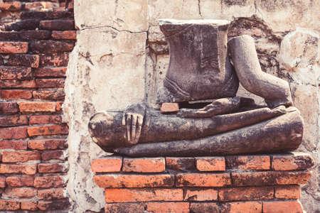 Buddha statues without head in Ayutthaya historical park, Ayutthaya , Thailand