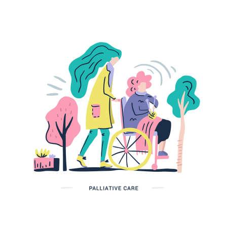 Anziana su una sedia a rotelle. Illustrazione di cure palliative realizzata in vettoriale. Tema delle persone anziane.