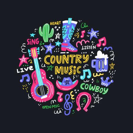 Cirkelconcept met symbolen van countrymuziek en belettering in het midden.