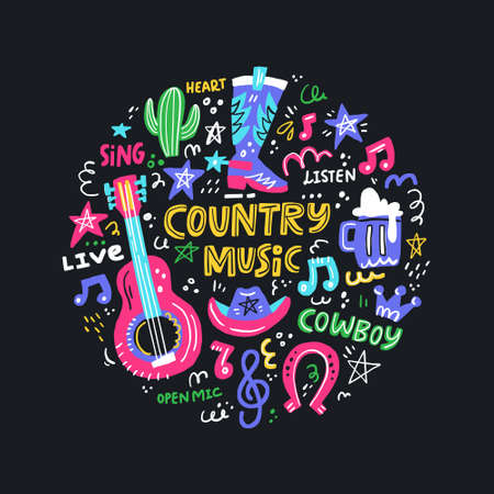 Concetto di cerchio con simboli di musica country e scritte al centro.