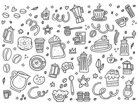 Monochrome collection of coffee tableware and snacks. Handdrawn vector design for greeting cards, menu, t-shirts, etc. Cartoon style.
