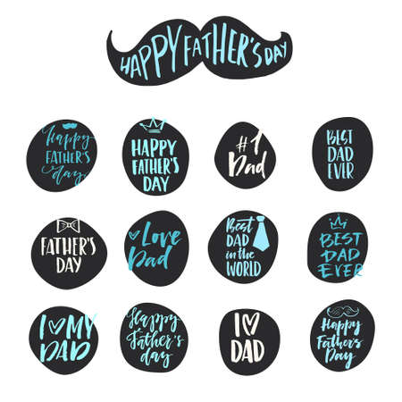 Unique hand lettering design for fathers day. Hand crafted lettering for apparel design, postcard, mug or poster. Textured vector art. Happy fathers day vector element. Foto de archivo - 105261722