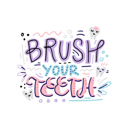Hand drawn dental quote - brush your teeth. Hand lettering design. Banque d'images - 114783668