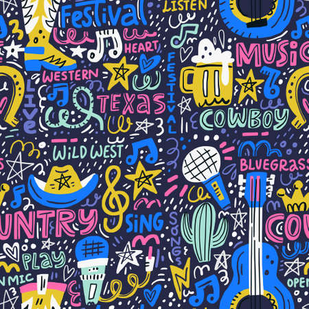 Handdrawn seamless pattern with various country music symbols - american national tradition.