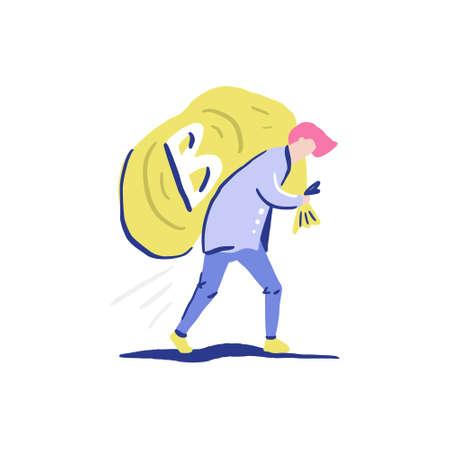 Man carryng bag with bitcoins.