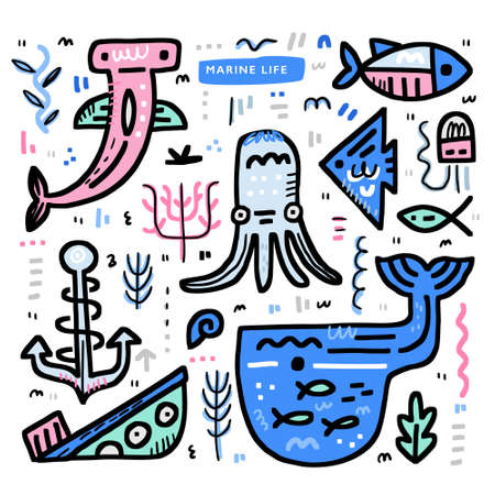 Undersea world theme concept. Octopus, moray, whale, sunken ship and other marine elements. Vector nautical design. Illustration