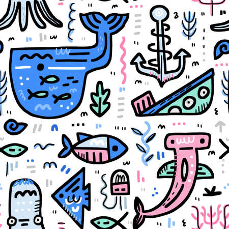 Marine life boundless background. Octopus, moray, hammerhead fish, whale, anchor, ship. Handdrawn nautical vector concept.