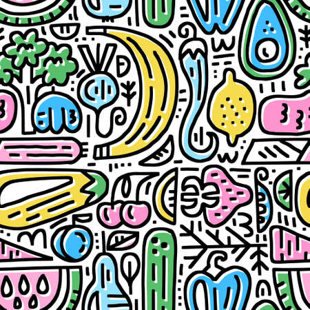 Fruits and veggies seamless pattern. Organic and healthy food concept made in cartoon style. Vector illustration for ads, menu and web banner designs.
