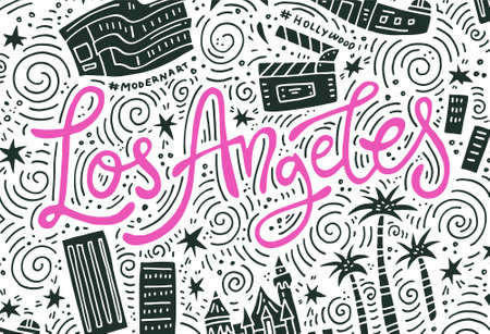 Los Angeles - lettering and symbols of the city - banner template  イラスト・ベクター素材