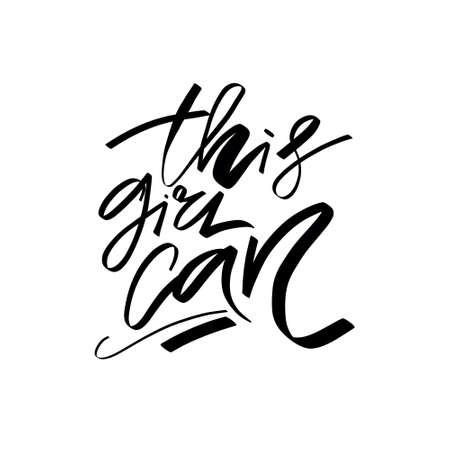 Girl power brush lettering quote Illustration