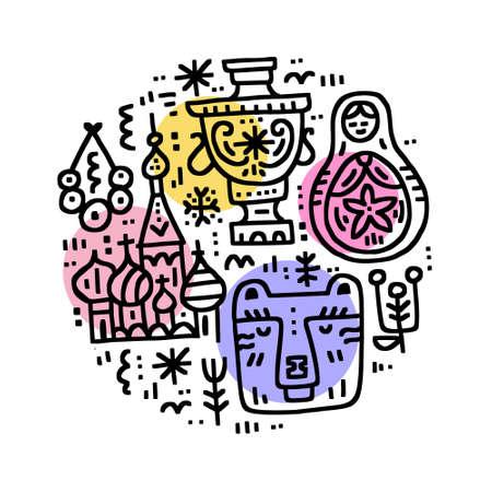 Russian Cultural Symbols drawn in circle - matrioshka, samovar, bagels, bear, Saint Basil Cathedral. Freehand vector illustration.