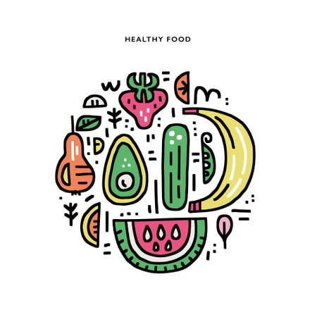 Veggies and fruits handdrawn vector illustration made in circle. Organic and healthy food concept. Doodle style illustration for advertisments, signboards, menu and web banner designs.
