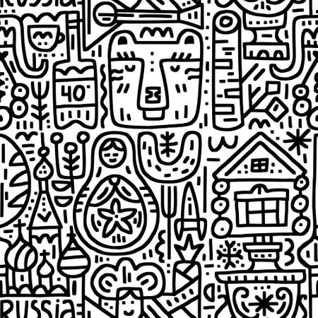 Boundless pattern with well-known Russian symbols - matrioshka, bear, izba, samovar, etc. Vector design. Doodle style. Illustration