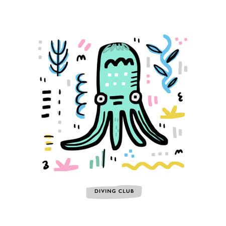 Handdrawn octopus with seaweed around. Cartoon style. Vector nautical design. Ilustrace
