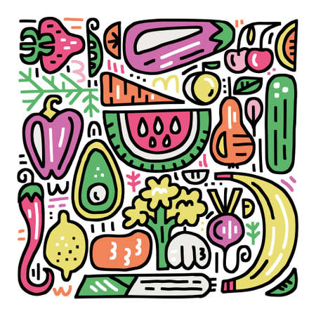 Fruits and veggies colourful collection. Organic and healthy food concept. Handdrawn vector illustration for signboards, menu and banner designs. Çizim