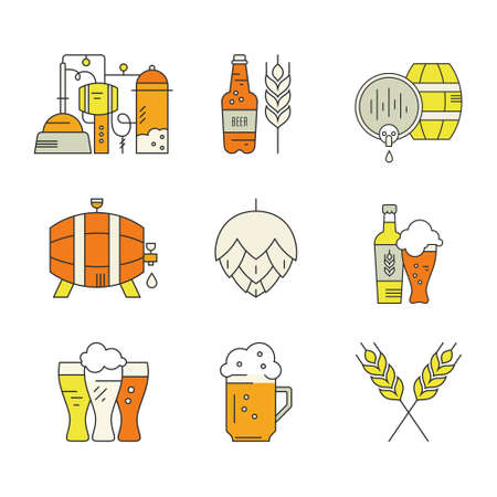 Modern line style series of brewery icons and different beer symbols for pub, bar or other brewing related business. Octoberfest icon series. Clean and modern line style vector art.