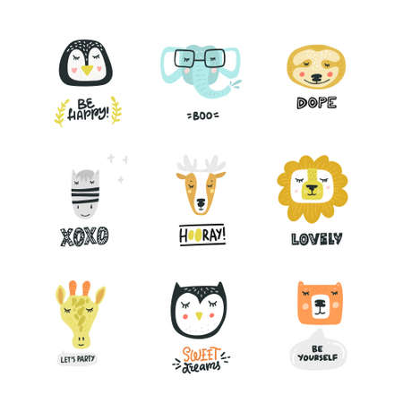 Cute and simple animal faces collection. Doodle style icons for kids cards and invitations. Clip art vector design. Illustration