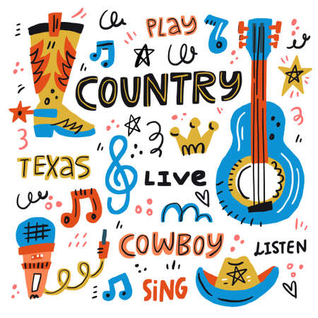 Country music handdrawn illustration for postcards or festival banners. Vector concept. Illustration
