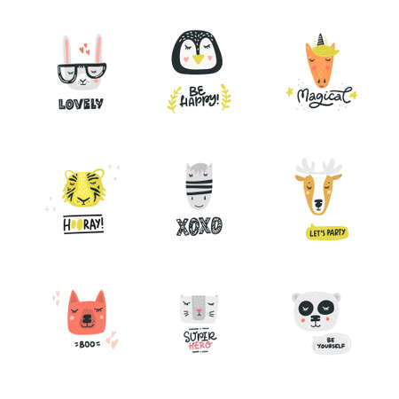 Set of cute animal faces. Vector illustration made by hand. Cartoon characters for kids, toddlers and babies fashion.