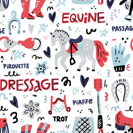 Hand drawn seamless pattern with symbols of dressage. Horse riding concept.