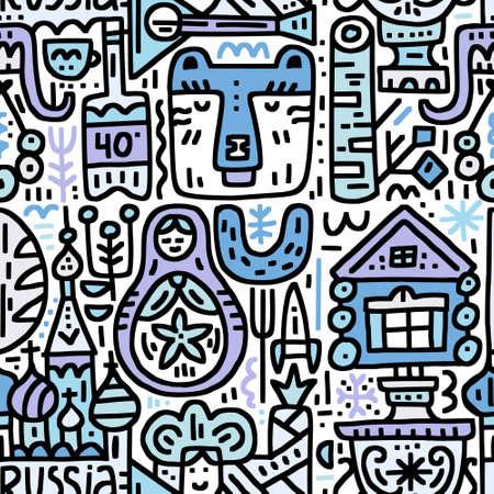 Seamless pattern with symbols of Russia - bear, vodka, matrioshka, samovar, etc. Cartoon vector design.