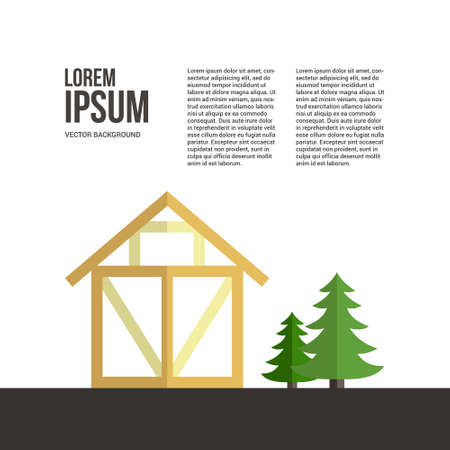 House construction vector template with frame house and logger and timber industry tools. Tools, materials and house building process.Place for your text. Stock Illustratie