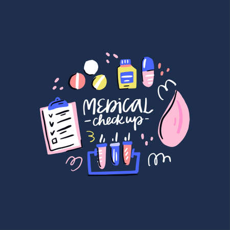 Collection of medicines. Handdrawn medical checkup design. Vector illustration on white background. Ilustração