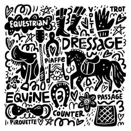 Black and white print of hand drawn horse riding elements.