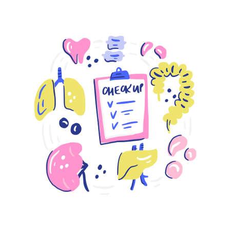 Humans organs for medical checkup. Doodle illustration made in vector. Illustration