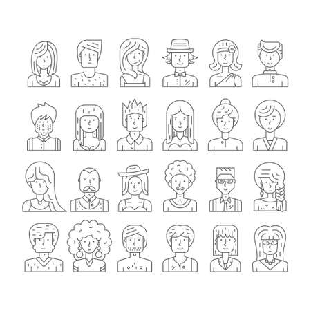 Collection of linear style people icons made in vector. Modern avatars with different characters. Hipster portraits for social media or web site. Trendy illustration of guys and girls with outlines.