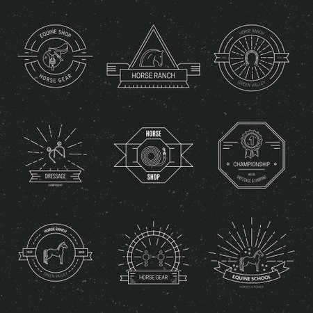 Satz von Pferdelogos und -etiketten. Sammlung von Emblemen im Hipster-Stil für die Reitschule, Geschäft für Pferdebedarf. Vektorlinienkunst.