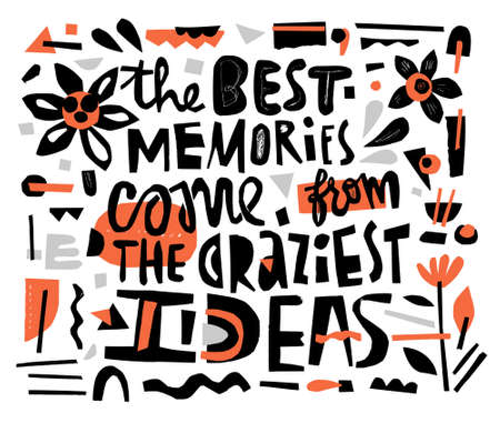 Bright quote cutout from paper. Vector lettering.