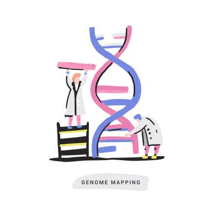 Scientist exploring DNA structure. Unique hand drawn design with nano technology concept. Vettoriali