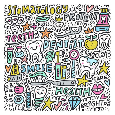Stomatology square design on white background. Teeth, implants, tools in cartoon style. Vector illustration. Stock Illustratie