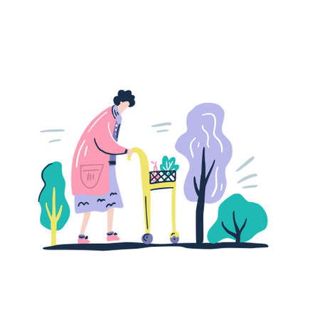Aged people. Old woman wth a buggy on a white background. Vector illustration in a flat style.