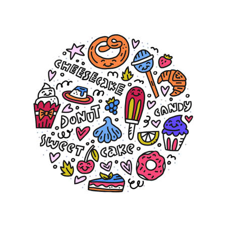 Vector dessert concept in circle. Colorful set of pastries. Handdrawn illustration.