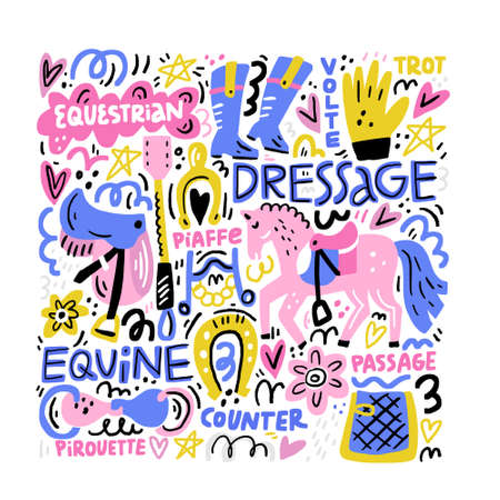 Hand drawn vector illustration with symbols of dressage. Horse riding concept.