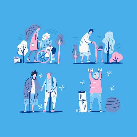Old people illustrations on a blue background. Elderly care concept. Flat vector design.