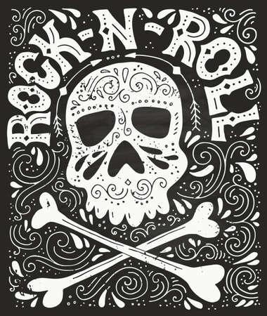 Skull, bones and rock-n-roll - handdrawn letterin poster. Vector typography. Design of a t-shirt, bag or other apparel. Illustration for rock concert.