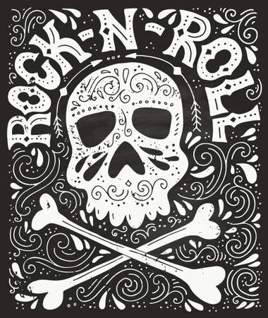 Skull, bones and rock-n-roll - handdrawn letterin poster. Vector typography. Design of a t-shirt, bag or other apparel. Illustration for rock concert.